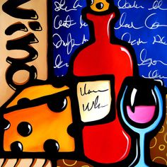 Tasty - Original Abstract painting Modern pop Art Contemporary large colorful cubist wine by Fidostudio Arte Pop, Pop Art Collage, Painting Prints, Art Prints, Modern Pop Art, Modern Contemporary, Arte Country, Chicago Artists, Wine Art