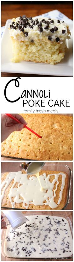 Cannoli Poke Cake Recipe-Start with a boxed white cake, poke holes, and pour on condensed milk, sweetened creamy cannoli filling! This is not just a cake-it's dessert nirvana. Poke Cake Recipes, Poke Cakes, Cupcake Cakes, Cupcakes, Poke Recipe, Icing Recipe, Layer Cakes, Cake Cookies, Cannoli Poke Cake