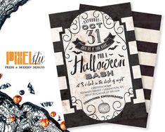 Halloween Bash Invitations - Halloween Party Invitations - Halloween Invitation - Black and White - Victorian Gothic Striped Invitation