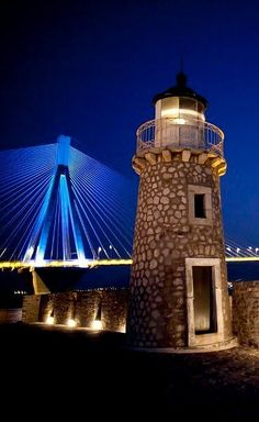 Lighthouse in the ruins of castle, Antirio, Greece