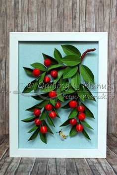 Quilled Cherries Tutorial - Quilled Cherry Fruits on Tree Branches with a Bee in a Shadowbox Frame - Quilling by ManuK (Manuela Koosch)