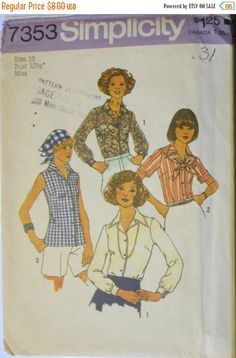Simplicity 7353; Vintage Sewing Pattern; Misses Blouse & Scarf Pattern; the top-stitched blouse with front button closing has notched