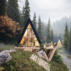Design Home - 👉Cabin in the Woods! Tiny House Cabin, Cabin Homes, Cozy House, Cozy Cabin, Tiny Houses, Cabin Design, Tiny House Design, Modern House Design, A Frame House Plans