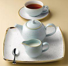 STONECAST café. Juego de café en porcelana con aires vintage pintada a mano. Calidez y estilo rústico. Diferentes colores. Disponible desde por 3,61€ según piezas en http://www.tiendacrisol.com/tienda.php?Id=3156 (enlace a StoneCast azul)  #porcelana #vajilla #mesa #cafe #café #cafeteria
