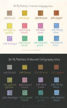 Dr. Ph. Martin's Iridescent Calligraphy Color Set #2 color chart by ...