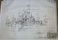 In memory of Rex Walls, these are the Glass Castle blueprints. Disney Home, Disney Dream, Disney Fun, Disney Magic, Disney Parks, Disneyland World, Disneyland Castle, Vintage Disneyland, Disney Castle Drawing
