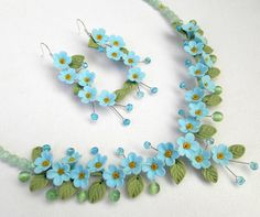 Foget me not jewelry  Light blue jewelry Floral by insoujewelry, $73.00