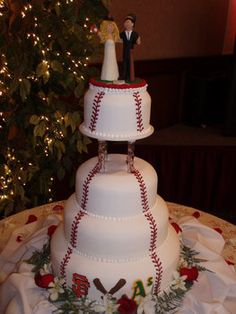 Wedding, Cake, Red, White, Themed, Baseball, The historic del monte building