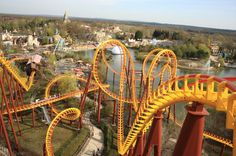 Goudurix roller coaster, Parc Asterix, France. 35 km north of Paris and 32 km from Disneyland Resort Paris, this is a great alternative to that well-known and overhyped amusement park. Rollercoasters, a log flume, a swinging ship and a river rafting ride are among the attractions