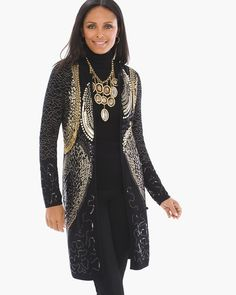 """Get the soiree started. This exquisitely crafted cardigan is emblazoned with gold-tone stitching and gilded sequins against a backdrop of classic black.   Long sleeves.  Top hook & eye closure.  Length: 37.25"""".  Cotton, polyester and other fiber.  Hand wash. Imported."""