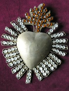 Flaming Sacred Heart reliquary ex voto with by lesjardinsdeleanor, $130.00