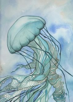 5 x 7 imprimir  Esta es una hermosa y caprichosa Medusa de ortiga de mar (Chrysaora). La original es una acuarela pintada en tonos tierra con colores azul y turquesa verde rico.  Tengo un profundo amor y aprecio por el mundo natural y tengo el honor de compartir su belleza contigo.