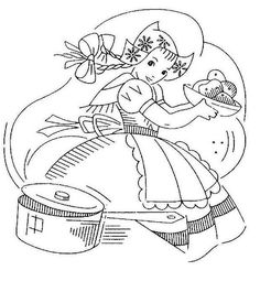 Dutch Girl Tea Towel - Cooking 2