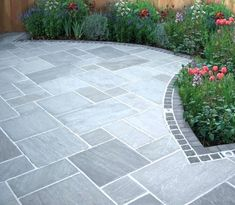 Most Popular Modern Driveway Paving Ideas and Layouts - Modern Paving Stone Patio, Slate Patio, Patio Slabs, Stone Driveway, Driveway Paving, Driveway Landscaping, Driveway Ideas, Brick Pavers, Concrete Patio