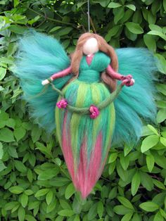 Needle Felted Wool fairy, Flower fairy, Waldorf inspired fairy doll. €16.00, via Etsy.