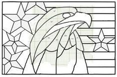 Eagle Flag Patriotic Stained Glass Light Catcher USA - Holidays and Memories Stained Glass Patterns Free, Stained Glass Quilt, Stained Glass Light, Stained Glass Birds, Stained Glass Designs, Stained Glass Projects, Mosaic Patterns, Stained Glass Windows, Fused Glass