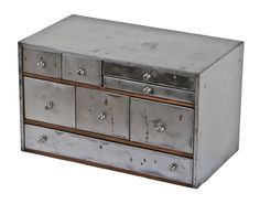 refinished c. 1930's american antique industrial heavily compartmentalized pressed and folded steel workbench or counter cabinet with original drawer pulls