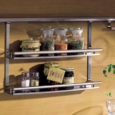 Hafele Kessebohmer Backsplash Railing Systems - Spice Rack has two shelves for storing small and medium sized spice bottles.