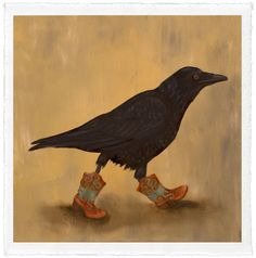 """Raven Boots by Trace Yeomans, limited edition #/20, 12"""" x 12"""" (image size) $100. """"This is a set of paintings about my love for shoes. Anyone that knows me knows I own a lot of shoes. The Ravens here are in different shoes to show different aspects of my life that I enjoy like running, dancing. dressing up and just roughing around."""""""