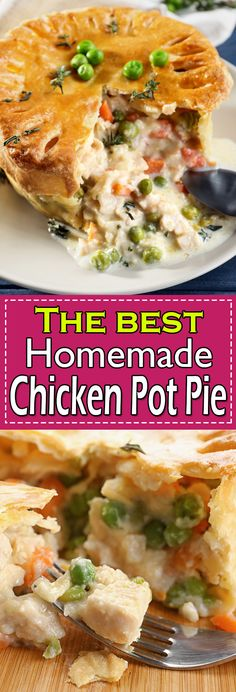 Chicken pot pie recipe is the ultimate comfort food ready in just 30 minutes with leftover chicken or turkey. This easy Chicken pot pie is made for a quick weeknight meal. Homemade Chicken Pot Pie Recipe Easy, Best Chicken Pot Pie, Leftover Chicken Recipes, Leftovers Recipes, Favourite Chicken, Recipe Chicken, Dinner Recipes, Chicken Main Course Recipes, Chicken Thigh Recipes