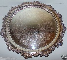 """Vintage Sheridan Large 17"""" Round Footed Silverplate Tray Scalloped Edge  in Antiques, Silver, Silverplate, Platters & Trays 