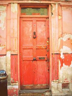 I love old doors with character! When we buy our house, I think it would be fun to replace all of the interior doors with crazy fun vintage ones. Decoration Inspiration, Color Inspiration, Old Doors, Windows And Doors, Coral Door, Pantone, When One Door Closes, Unique Doors, Living At Home