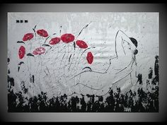 Abstract Acrylic Paintings of Poppies Floral Flower Art Abstrakte Acrylb...