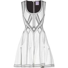 Herve Leger Maya Diamond Jacquard Jacket (1 670 AUD) ❤ liked on Polyvore featuring dresses, white, herve leger dress, white textured dress, jacquard dress, zipper back dress and hervé léger
