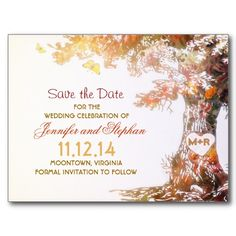 colorful love tree save the date postcards with bride and groom initials on it's trunk