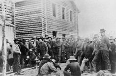 Miners Waiting to Register Claims, Klondike (Alaska or Yukon) Gold Rush (1898) Dawson, British Columbia, Canada