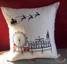 Handcrafted, ready-made Christmas cushion is waiting for a new home. Christmas Cushions, Handmade Cushions, Outdoor Cushions, Cushion Covers, Blinds, Upholstery, Waiting, New Homes, Throw Pillows