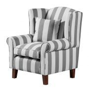 Sessel Colmar - Webstoff Grau gestreift Black And White Furniture, Textiles, Sofa, Furniture Upholstery, Decoration, Grey And White, Accent Chairs, Armchair, Home And Garden
