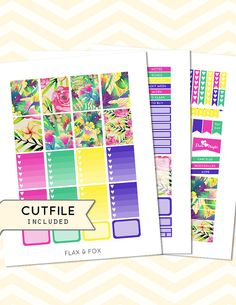 SUNNY TROPICAL Weekly Planner Sticker by flaxandfoxplanner on Etsy