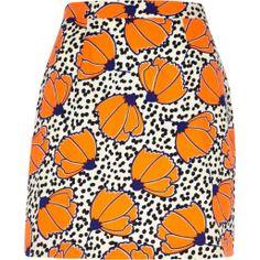 Orange polka dot floral print mini skirt - mini skirts - skirts - women
