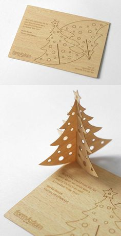 Christmas Wood Business Card. Pop out and create a desktop tree.