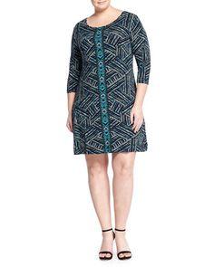 Nessa 3/4-Sleeve Printed Shift Dress, Mirrored Stripe, Women\'s by Tart Plus at Neiman Marcus Last Call.