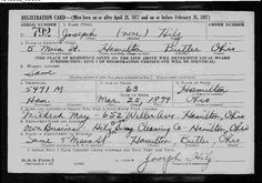 Joseph William Hilz I draft card