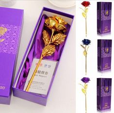 Fashion Gold Plated Golden Rose Flower Box For Valentine's Day Lovers' Gift Romantic Day 24k Gold Rose, Valentines Gift Box, Rose Gift, Day Wishes, Gift For Lover, Lovers Gift, Flower Boxes, Real Flowers, Mother Day Gifts