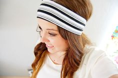 Black and white stripe head wrap - black and white - wide stretch headband with knot via Etsy