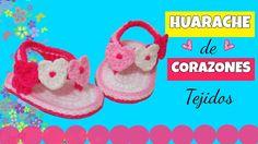 Huarache o sandalia de corazones ♥ tejidos a crochet    varias tallas