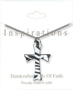 Zebra Print Cross Necklace