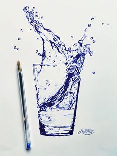 Bic pencil drawing glass of water Concepci n Allamand n Ink Pen Art, Ballpoint Pen Drawing, Cool Art Drawings, Pencil Art Drawings, Art Drawings Sketches, Water Drawing, Water Art, Drawing With Pen, Water Sketch