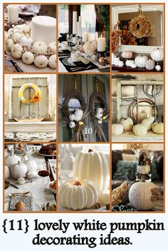 11 Lovely White Pumpkin Decorating Ideas! #fall decor #white fall decor…