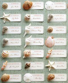 seashell escort cards for a nautical wedding - martha stewart weddings Seating Arrangement Wedding, Wedding Seating, Table Arrangements, Floral Arrangements, Trendy Wedding, Diy Wedding, Wedding Beach, Wedding Card, Beach Weddings