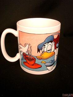 """Mug DONALD DUCK Disney Sleepy Hung Over Needs morning coffee Big 5""""x4"""" USA NEW"""
