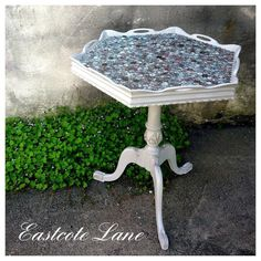 furniture #tbt  Remember this one? I tarnished all of the pennies... the patina was so pretty they created the coolest pattern in the table top   I wonder what it looks like now... it would have continued to age over time ... it's probably even cooler now!  we are open 10-6 today  #babyeastcote #theearlydays #pennytable #patina #coppertop #piecrusttable #reimagine #vintageshopping #devonpa #eastcotelane