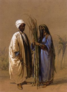 Preziosi, Amadeo (1816-1882) - 1862 An Egyptian Man and his Wife (Private Collection)