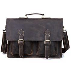 """Men's Handmade Vintage Leather Briefcase / Messenger / 13"""" 15"""" MacBook 14"""" 15"""" Laptop Bag"""