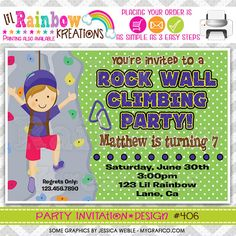 406 DIY Rock Wall Climbing 2 Party Invitation by LilRbwKreations
