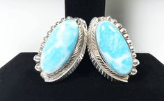 See new listings daily - follow us for updates.  Sterling Silver Clip On Earrings, #Oval #Larimar Cabochon Set in Feather and Dome Design, #Vintage TAXCO Bohemian Artisan Jewelry, Feather Stamped Design, Dome Setting, Healin... #vintage #jewelry #teamlove #etsyretwt #bestofetsy #mimisjewelryboutique #southwestern #larimar #taxco #oval #boho ➡️…